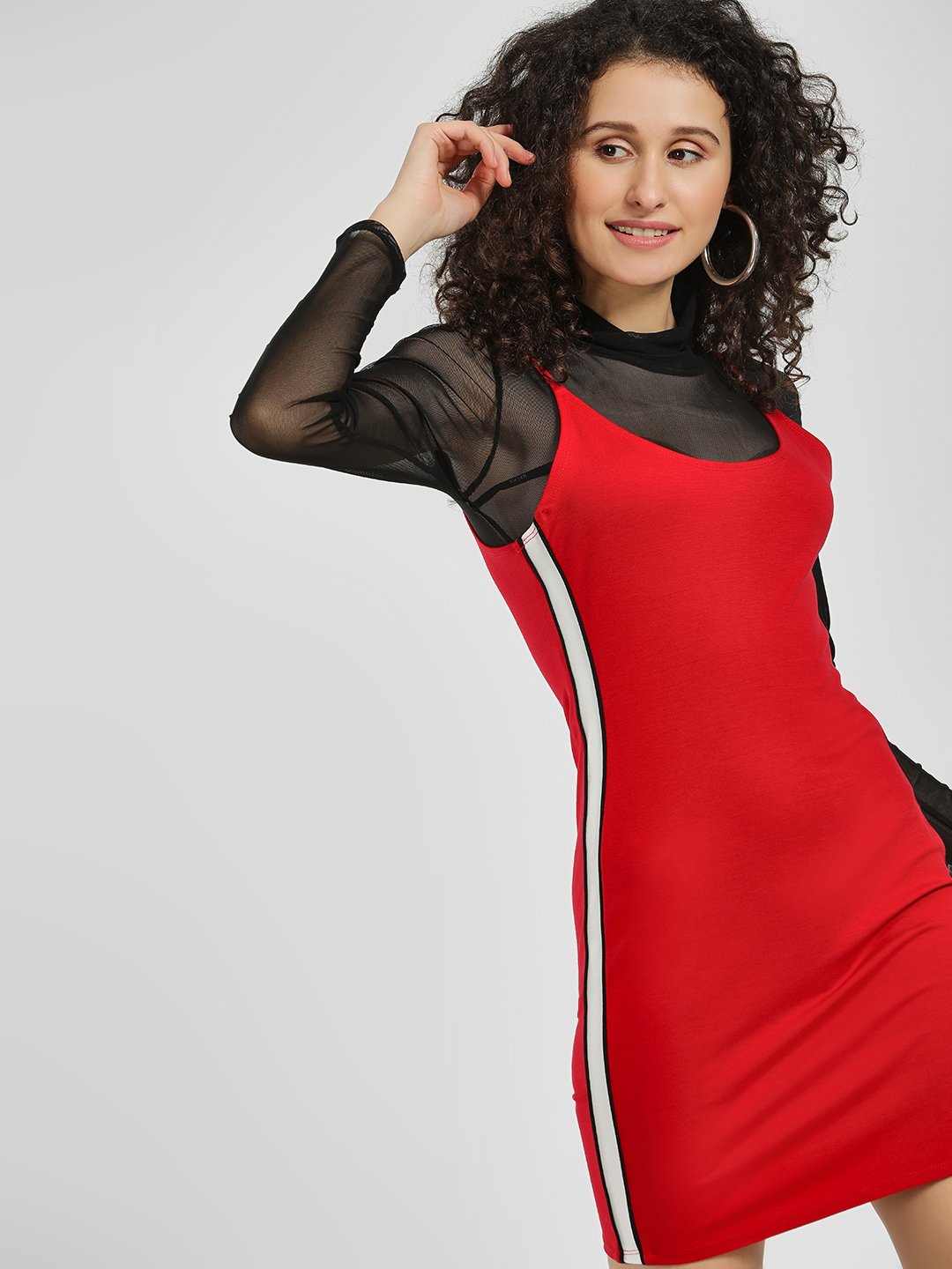 Iris Red Side Tape Bodycon Dress 1