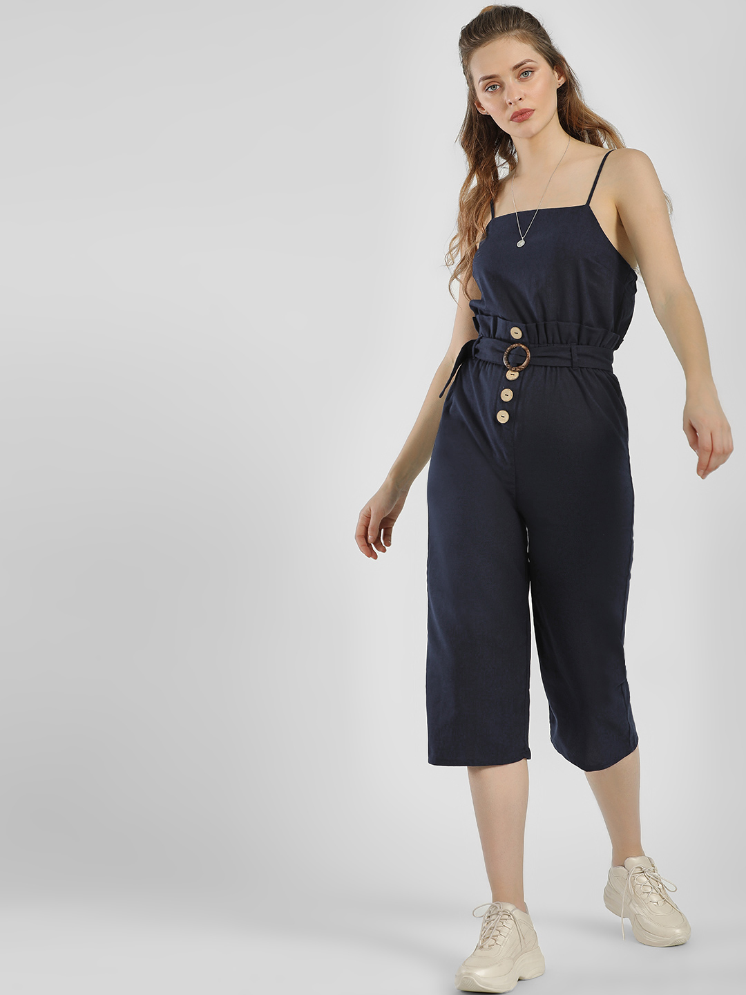Iris Blue Belted Front Cropped Jumpsuit 1
