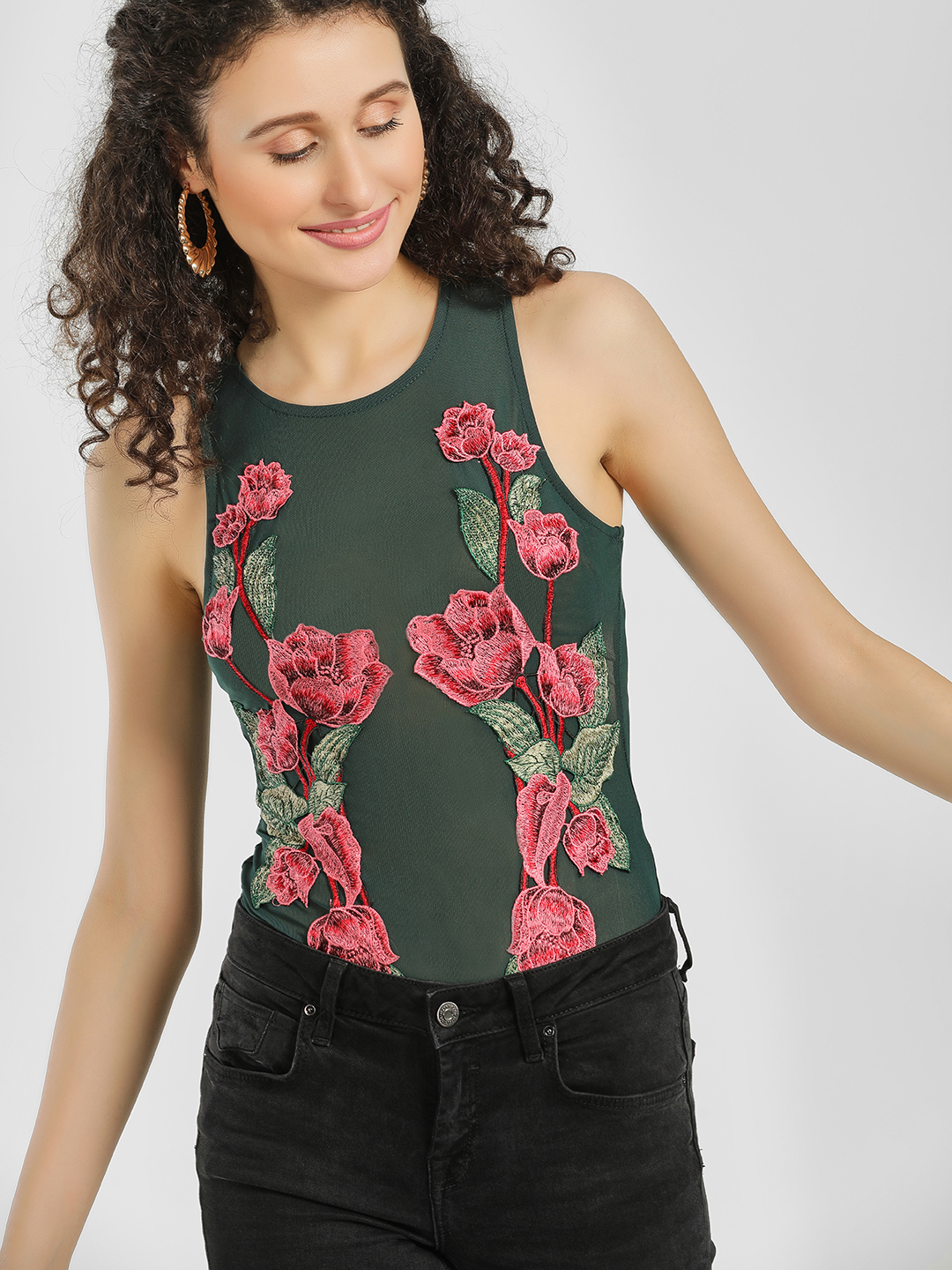 Iris Green Floral Embroidered Patch Mesh Bodysuit 1