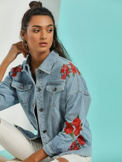 Liquor n Poker Rose Embroidered Denim Jacket