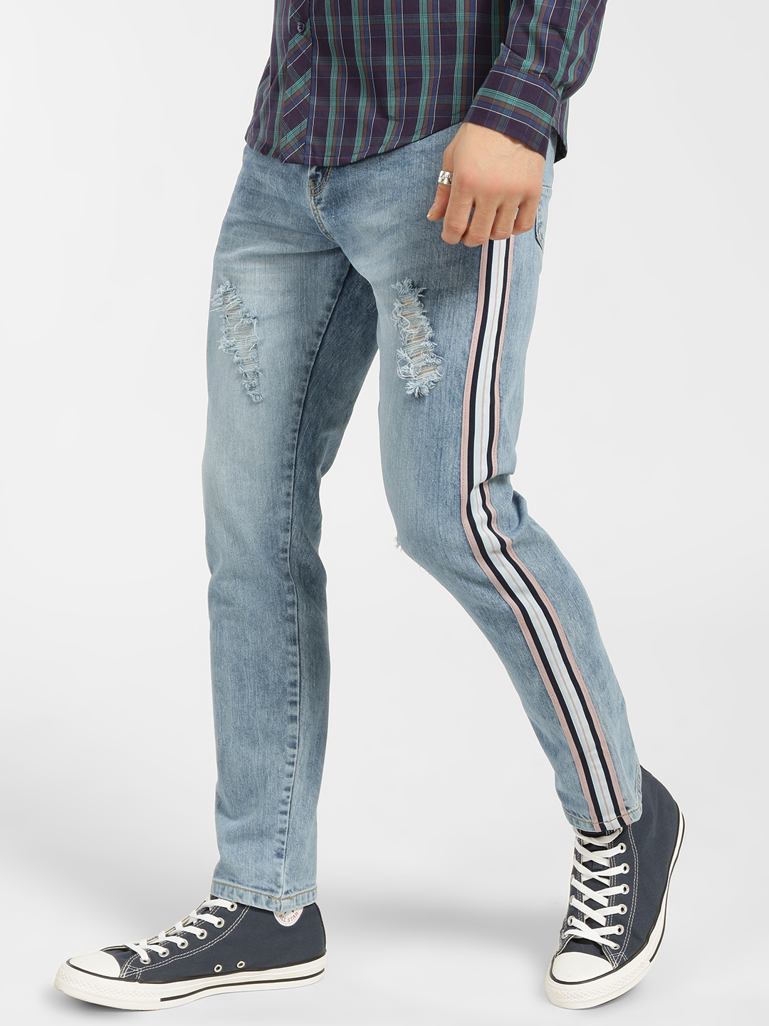 Deezeno Blue Light Wash Contrast Tape Distressed Jeans 1