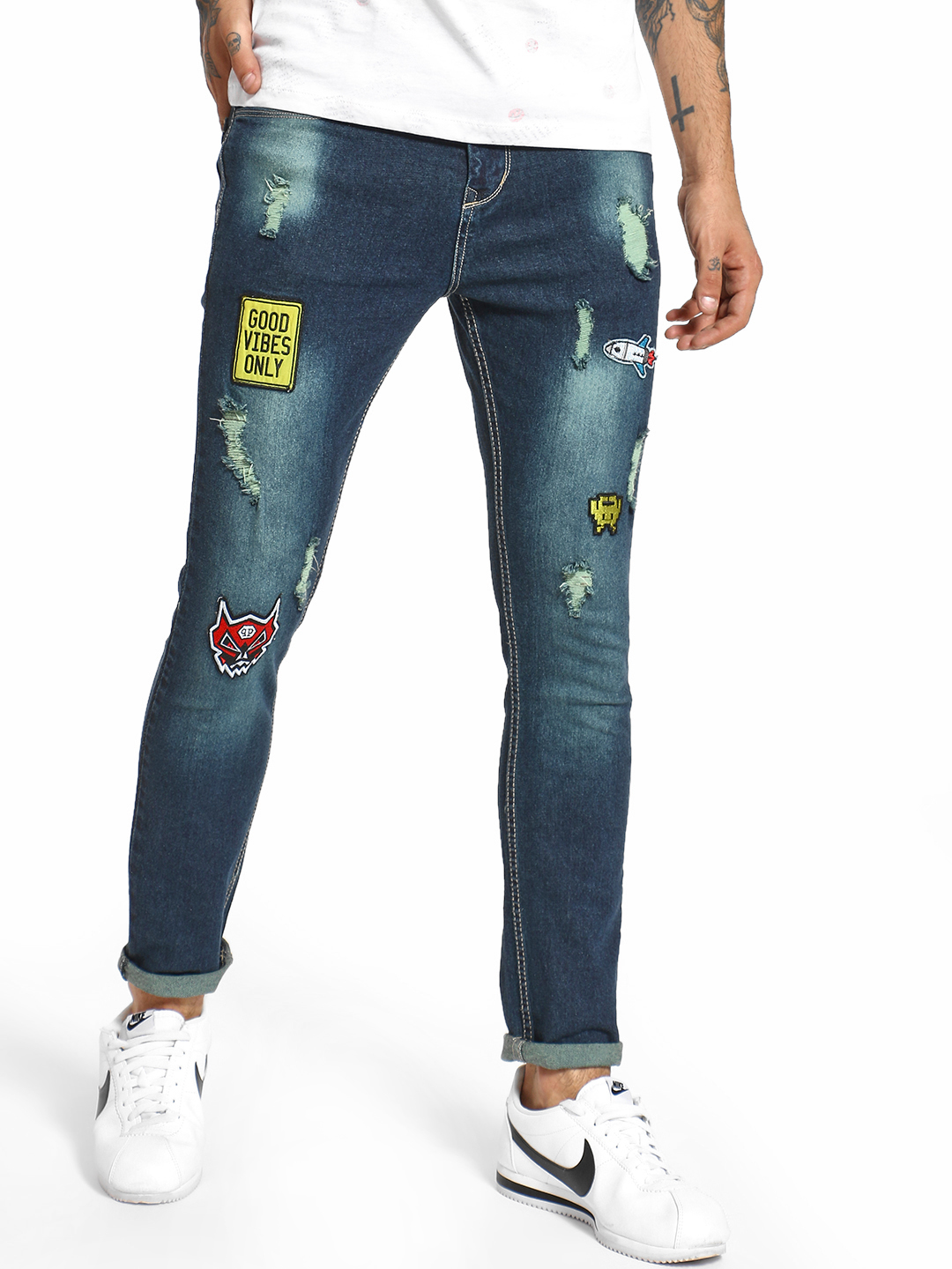 Deezeno Blue Embroidered Badge Distressed Skinny Jeans 1