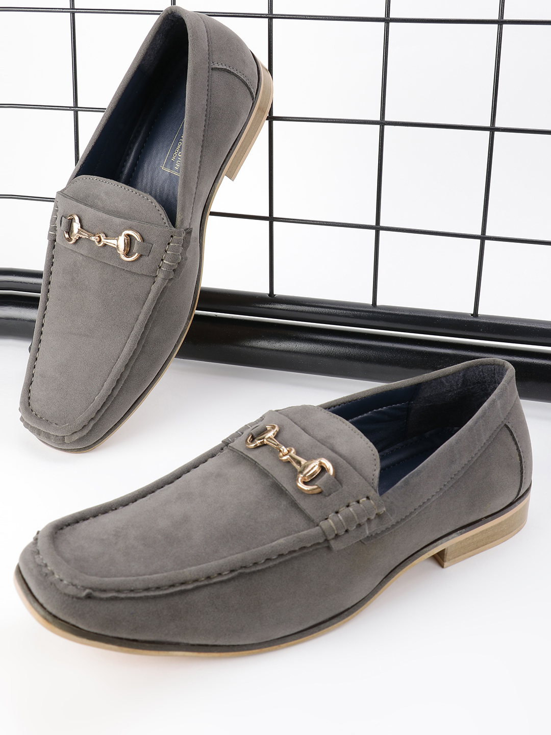 Bolt Of The Good Stuff Grey Suede Horsebit Driver Loafers 1