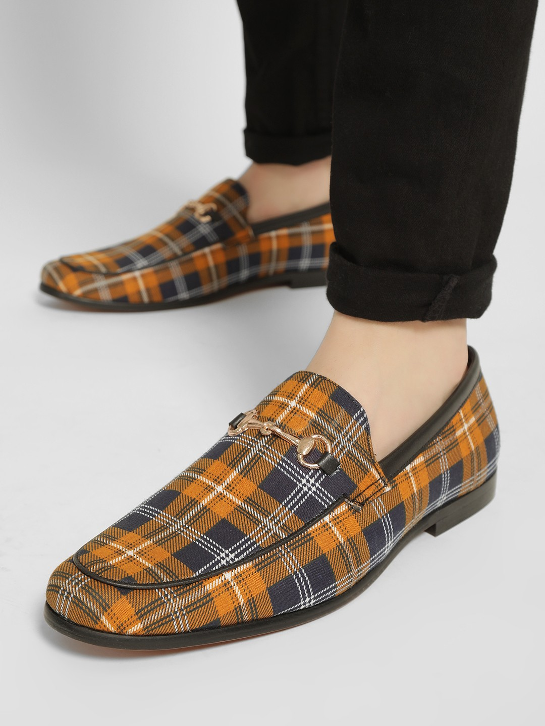 Bolt Of The Good Stuff Multi Tartan Check Horsebit Loafers 1