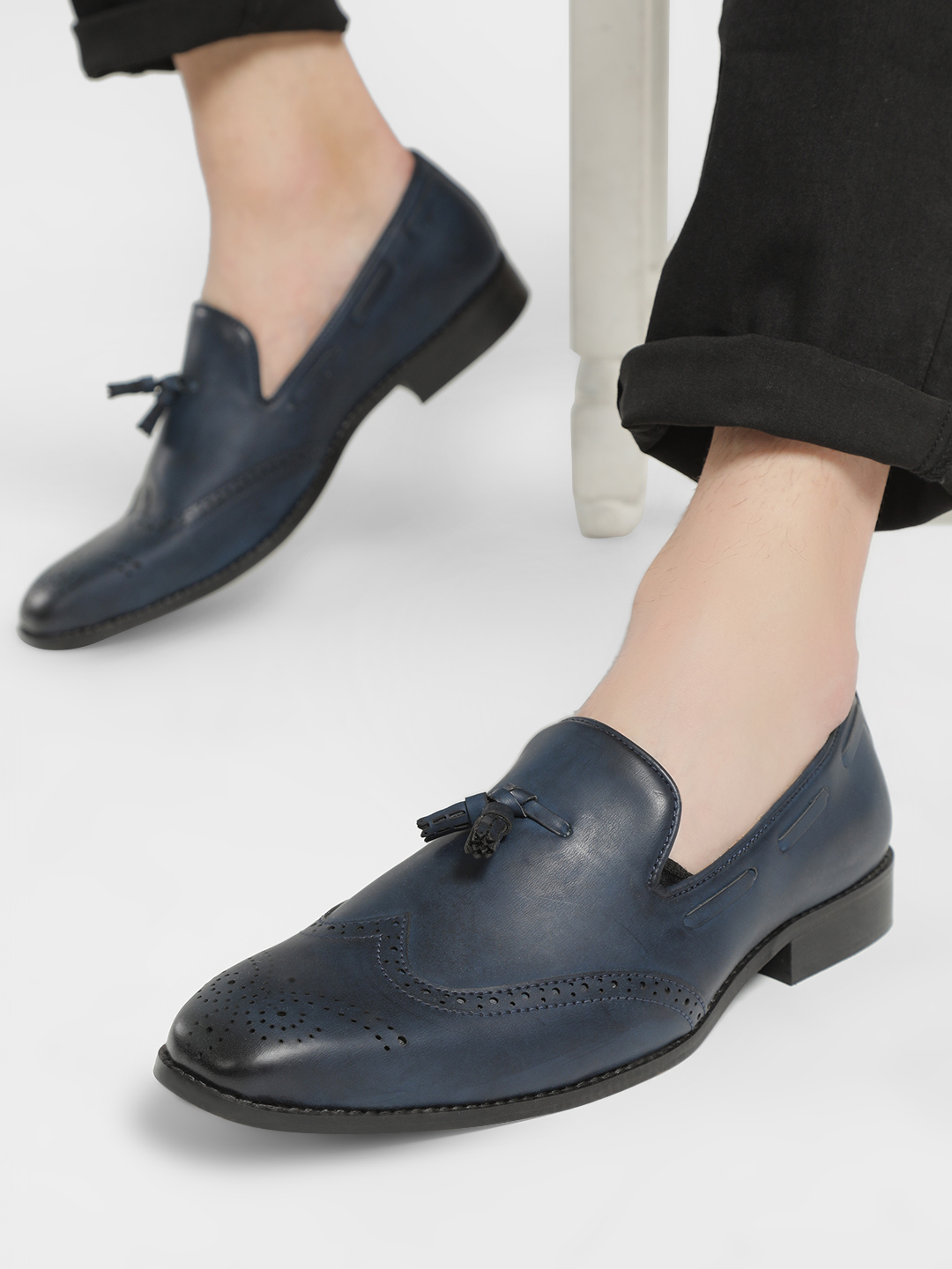Bolt Of The Good Stuff Blue Brogue Tassel Trim Loafers 1
