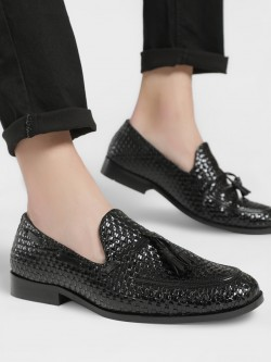 Bolt Of The Good Stuff Weave Tassel Trim Patent Loafers