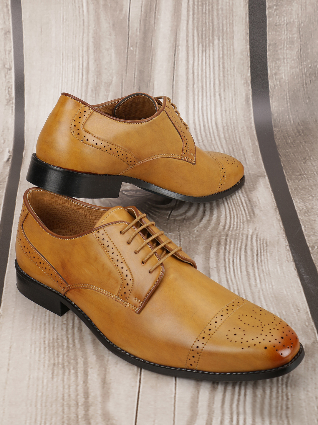 Bolt Of The Good Stuff Brown Brogue Punches Derby Formal Shoes 1
