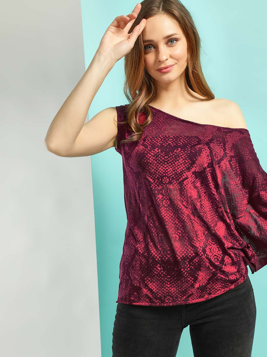 LOVEGEN Maroon Snake Print One Shoulder Blouse 1