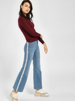 LOVEGEN Text Side Tape Flared Jeans