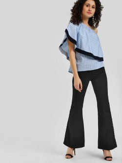 LOVEGEN Metallic Side Stripe Flared Jeans