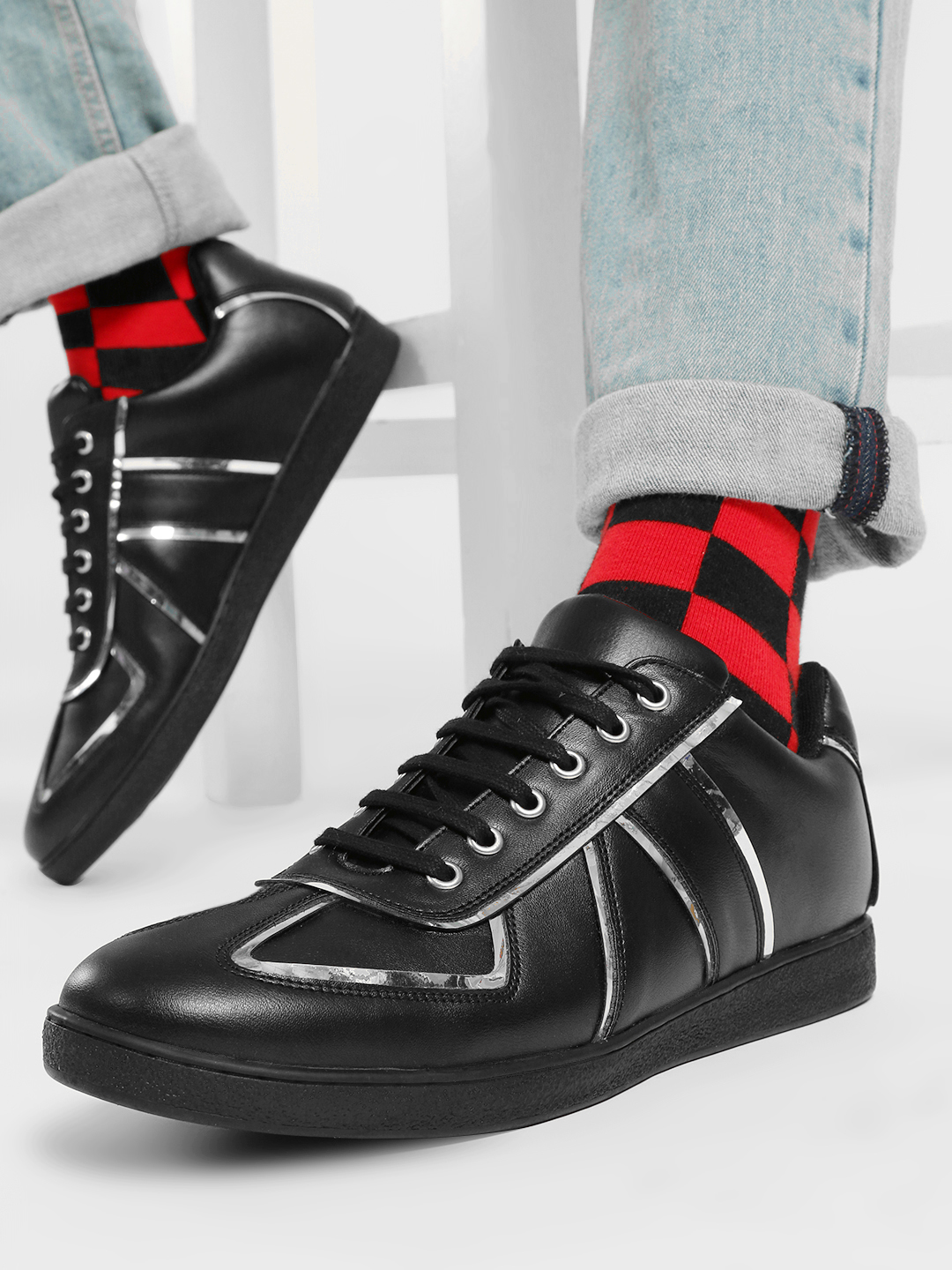 Kindred Black 3D Effect Panelled Sneakers 1