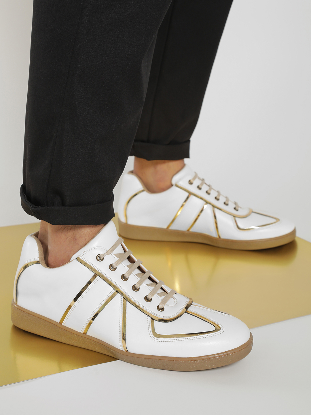 Kindred White 3D Effect Panelled Sneakers 1