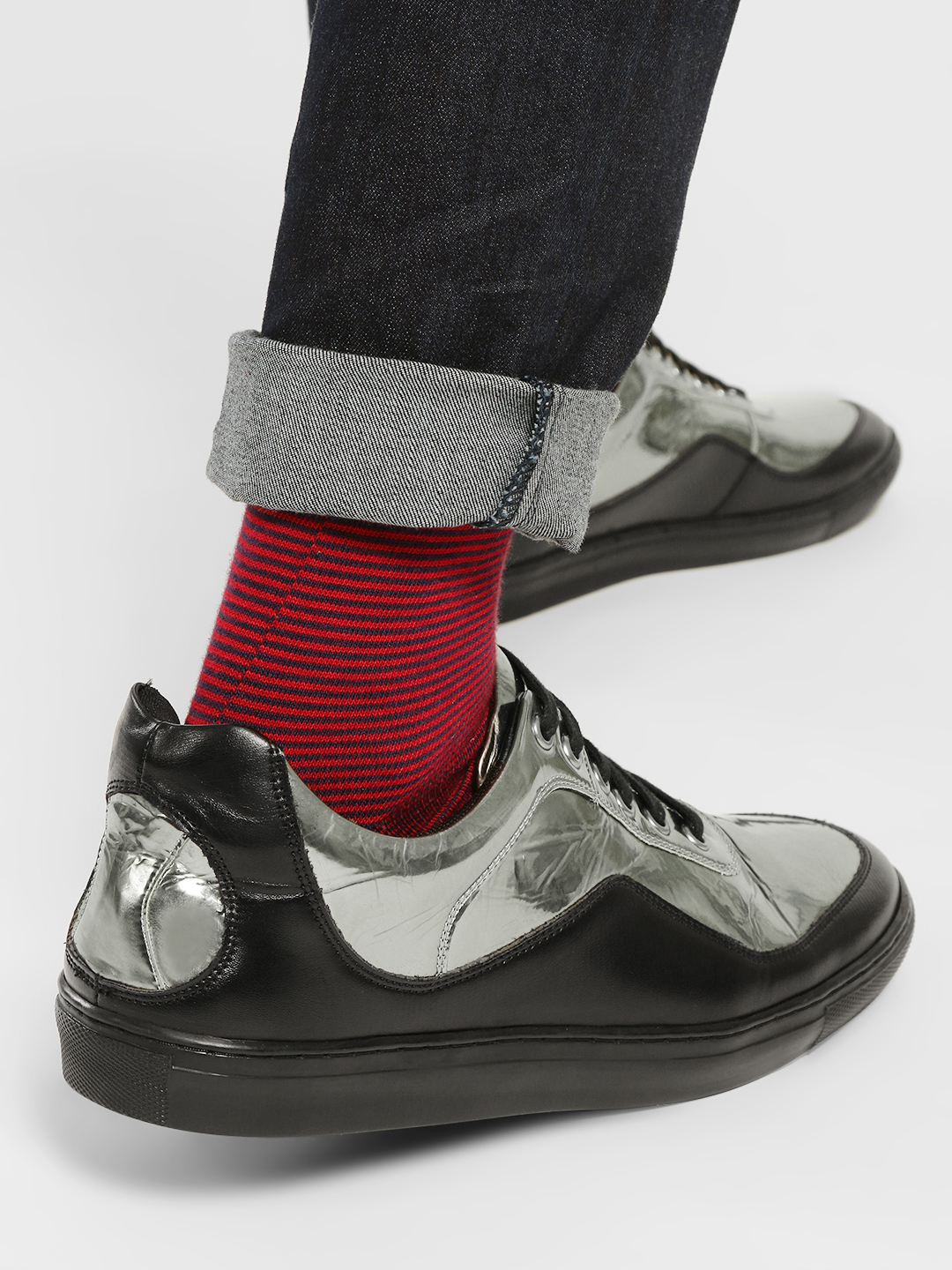 Kindred Black Metallic Colour Block Panelled Sneakers 1