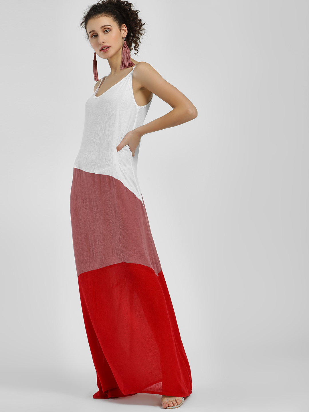 The Gud Look Red/White/Pink Colour Block Strappy Maxi Dress 1