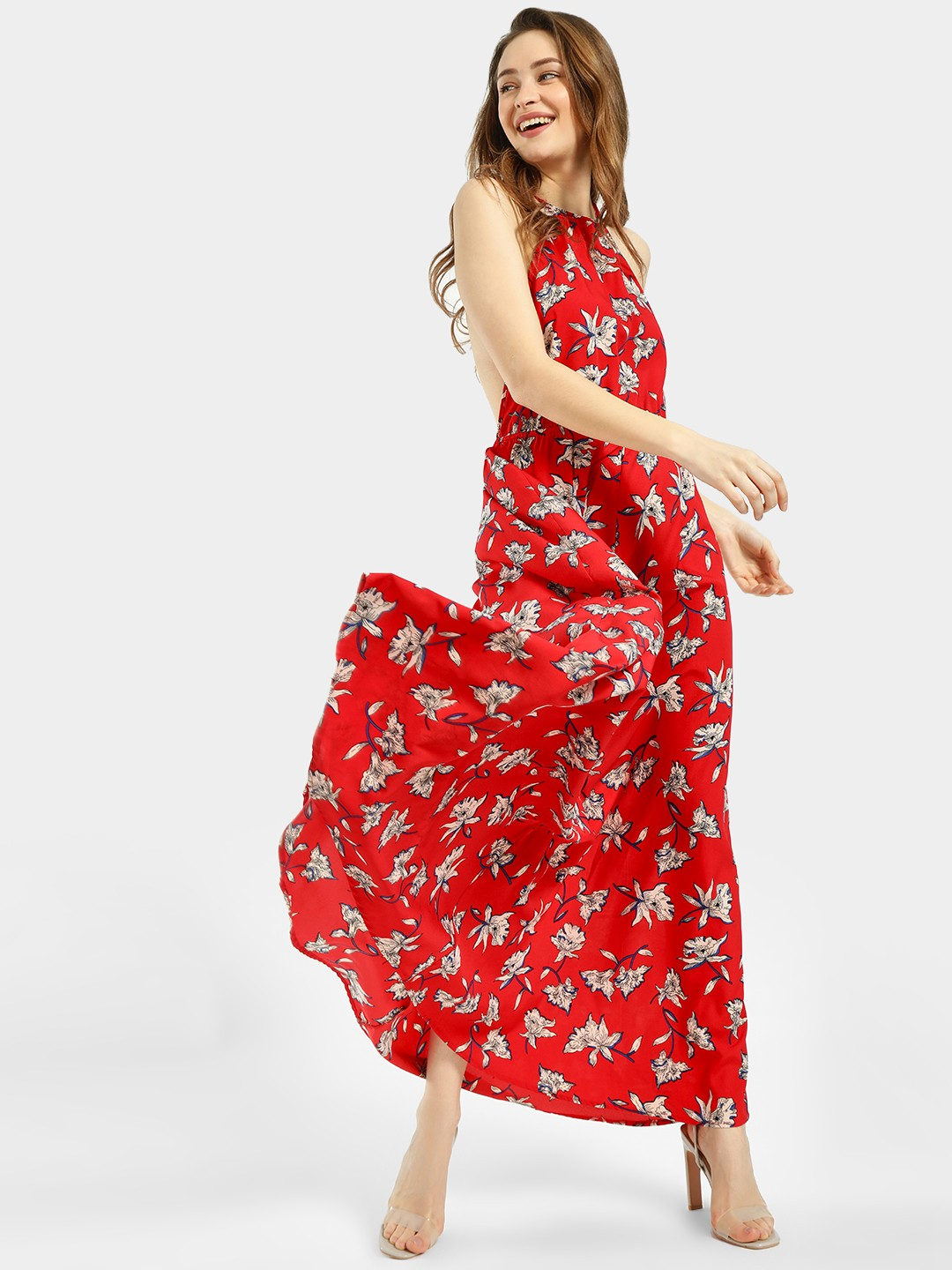 The Gud Look Red/White Floral Print T-Strap Maxi Dress 1