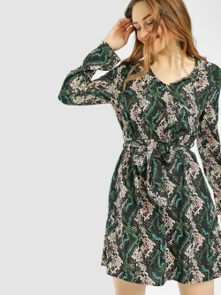 The Gud Look Snake Print Shift Dress