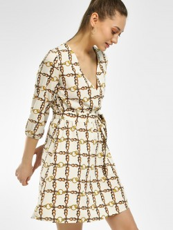 The Gud Look Chain Print Tie-Up Shift Dress