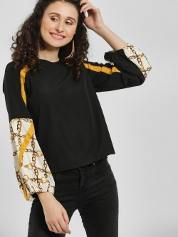 The Gud Look Mixed Print Color Block Blouse
