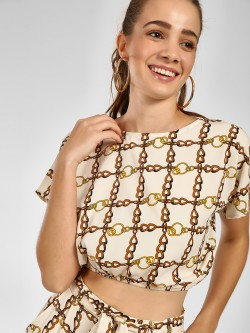 The Gud Look Chain Print Crop Top