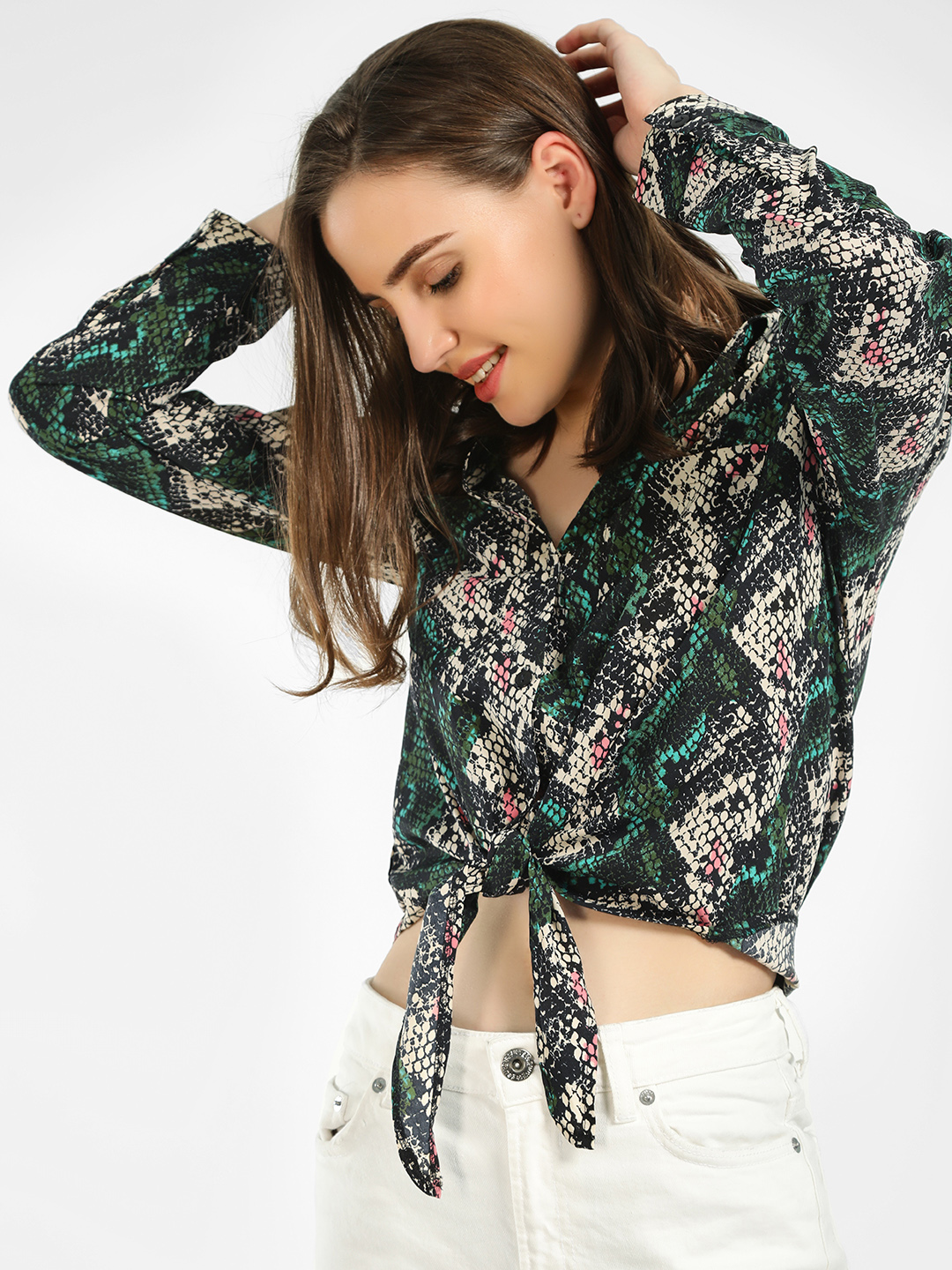 The Gud Look Multi Snake Print Front Knot Shirt 1