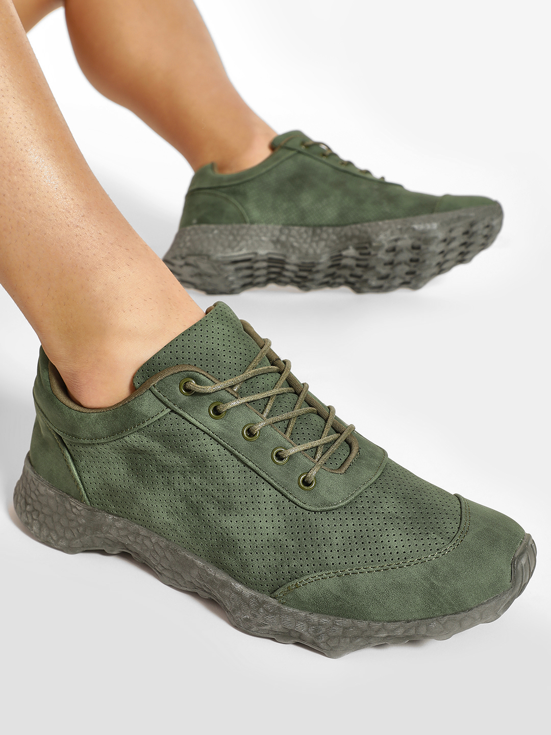 Kindred Green Perforated Two Tone Trainers 1