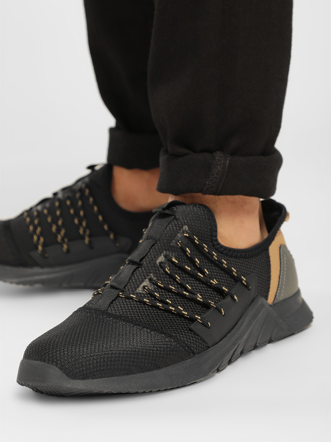 KOOVS Black Textured & Contrast Panel Trainers 1