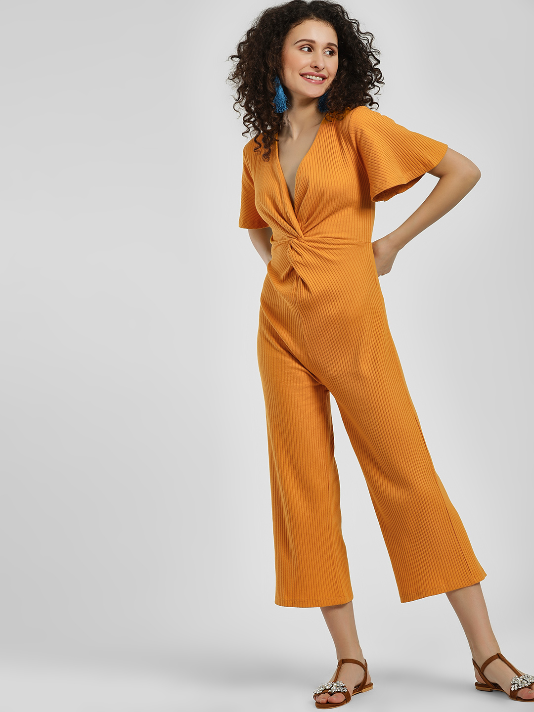 KOOVS Yellow Front Twist Knot Ribbed Jumpsuit 1