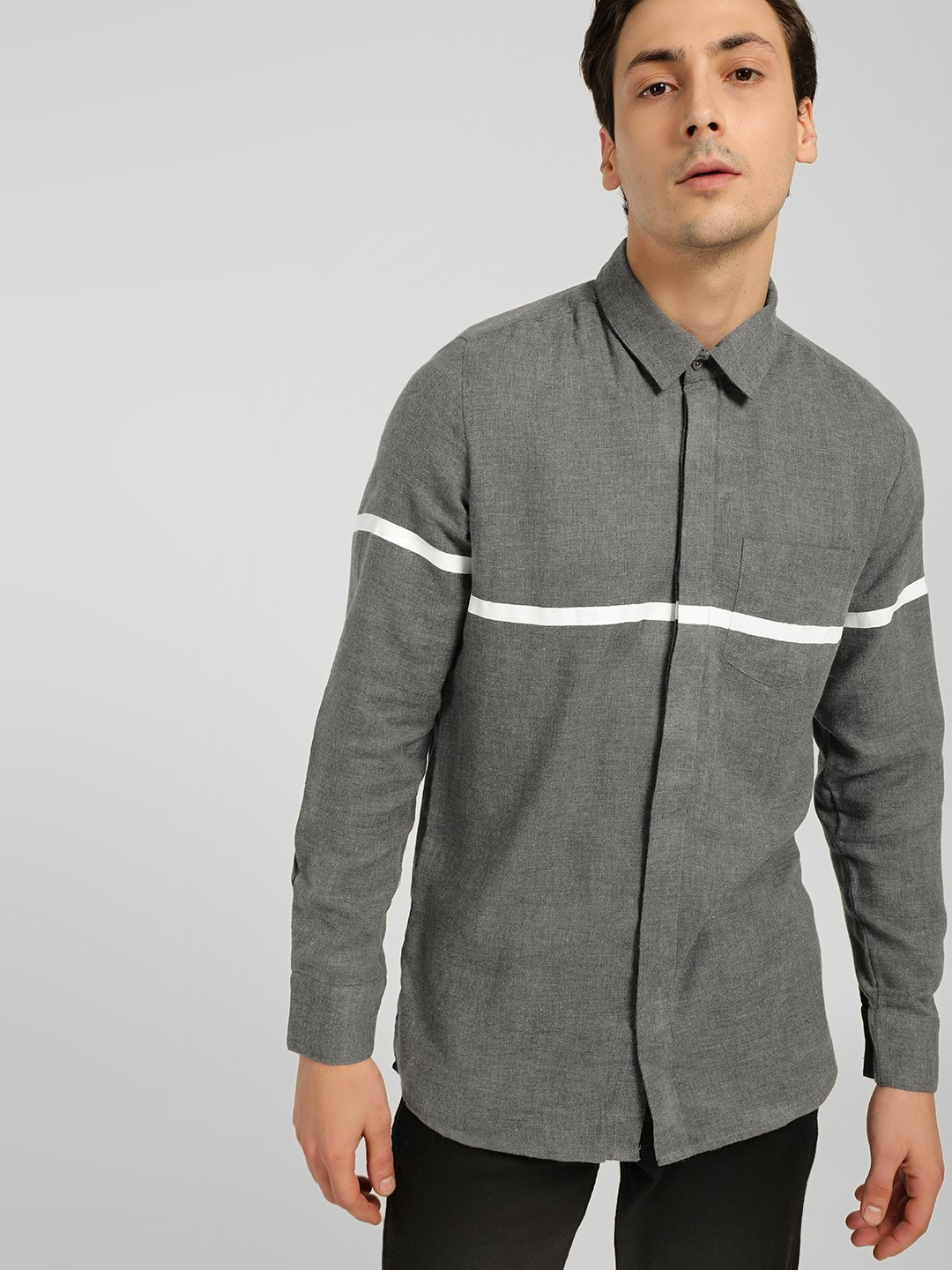 SKULT By Shahid Kapoor Grey Contrast Stripe Casual Shirt 1