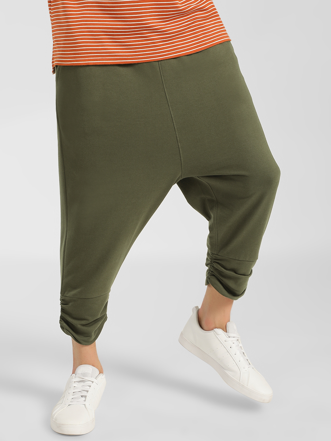 SKULT By Shahid Kapoor Olive Drop Crotch Joggers 1