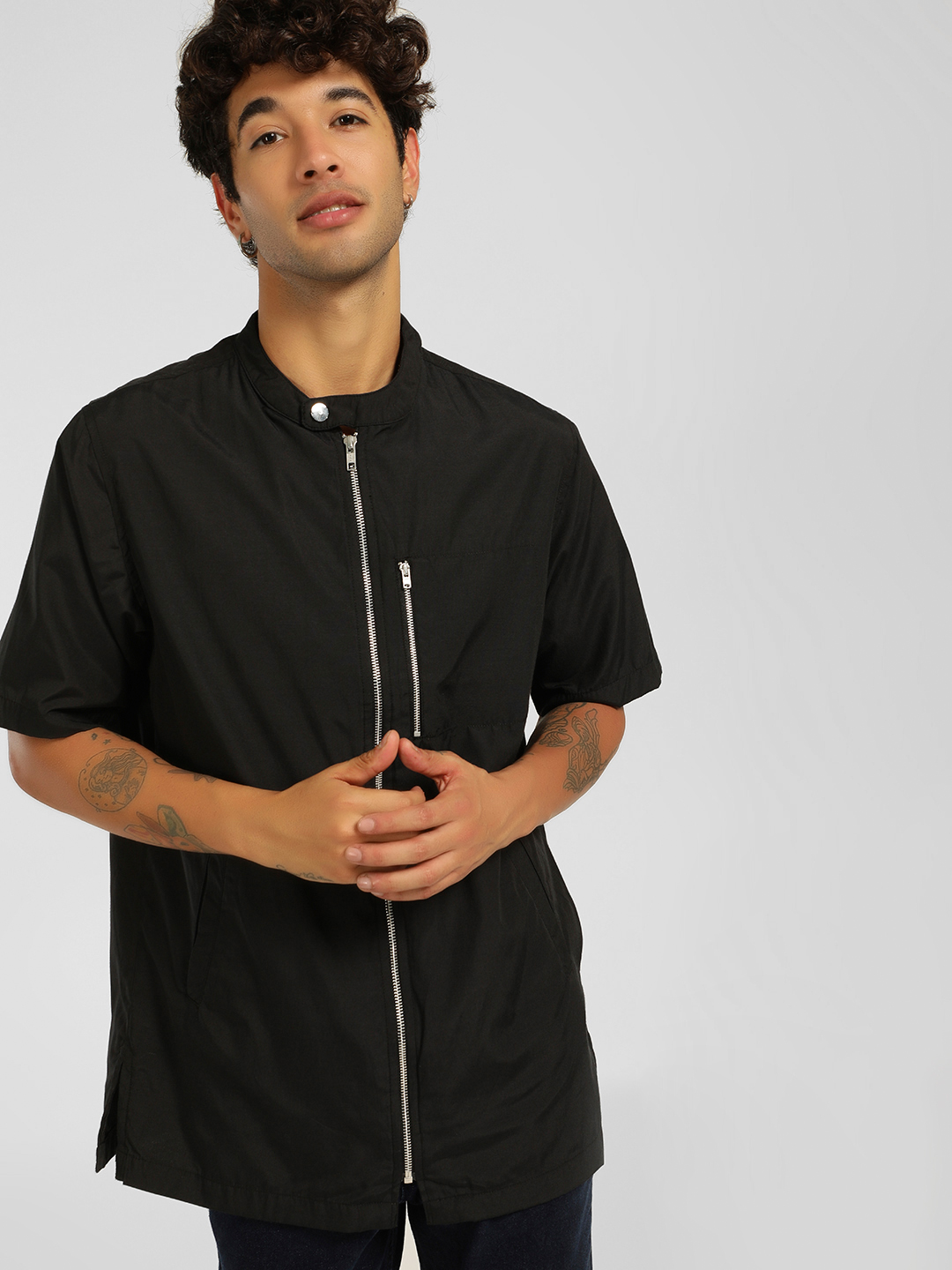 SKULT By Shahid Kapoor Black Chinese Collar Casual Shirt 1