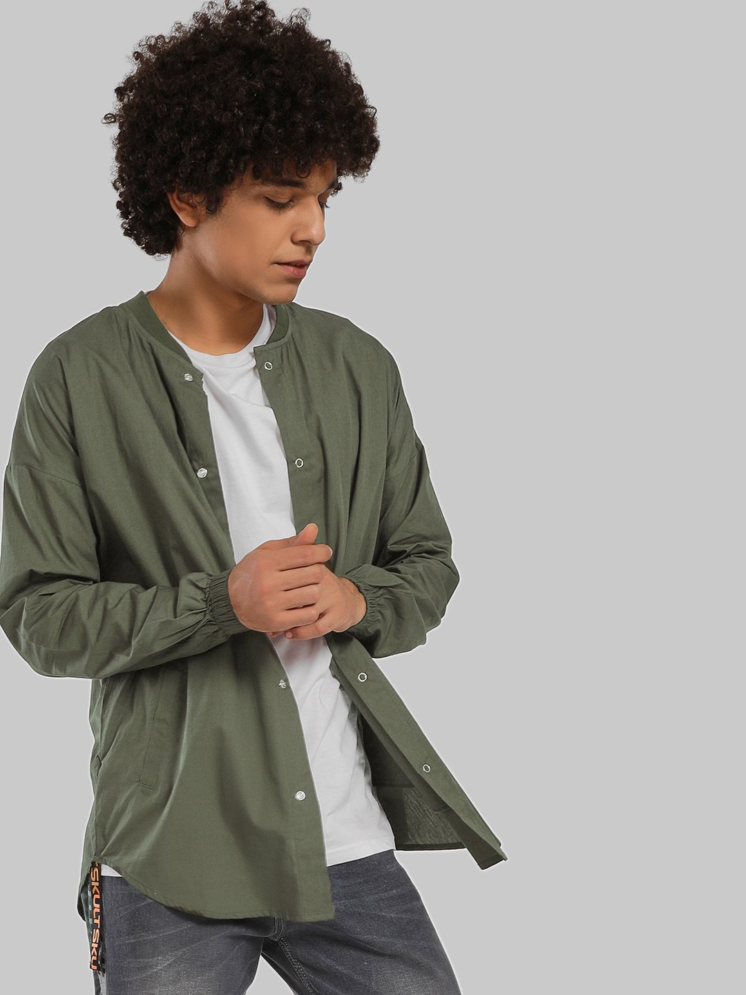 SKULT By Shahid Kapoor Olive Drop Shoulder Baseball Collar Shirt 1
