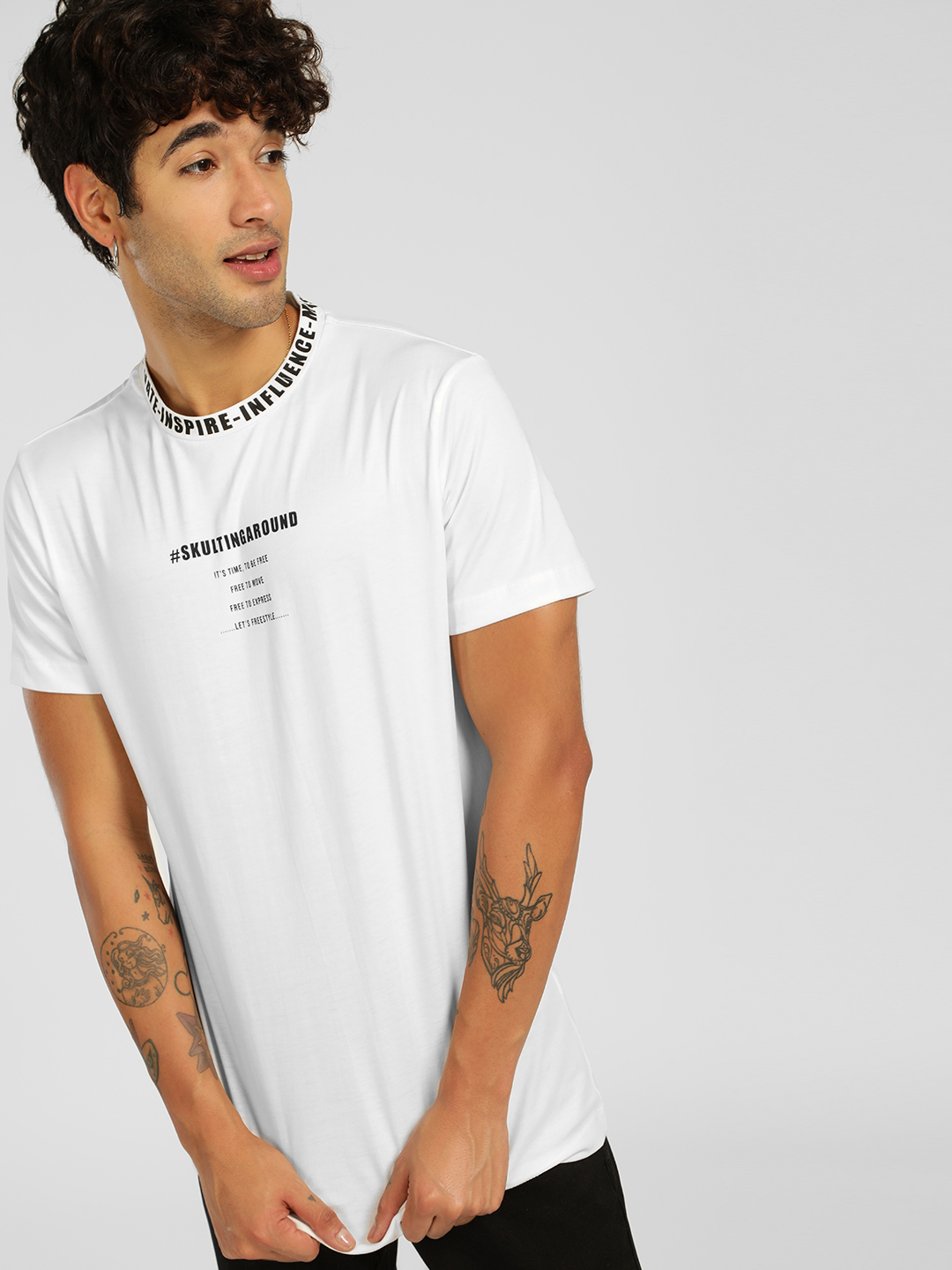 SKULT By Shahid Kapoor White Text Print Crew Neck T-Shirt 1
