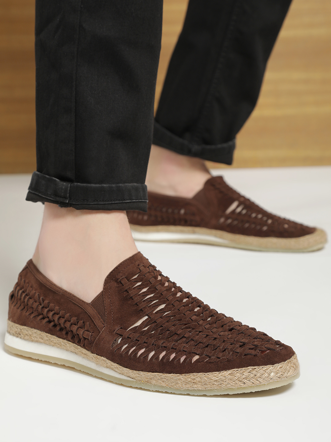 Bolt Of The Good Stuff Brown Suede Weave Espadrille Loafers 1