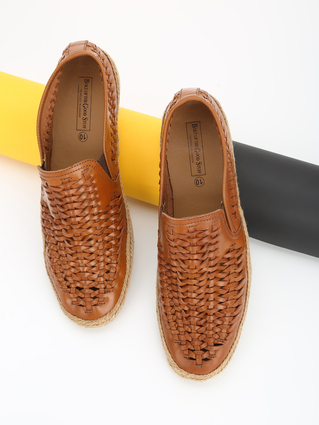 Bolt Of The Good Stuff Brown Weave Panel Espadrille Loafers 1