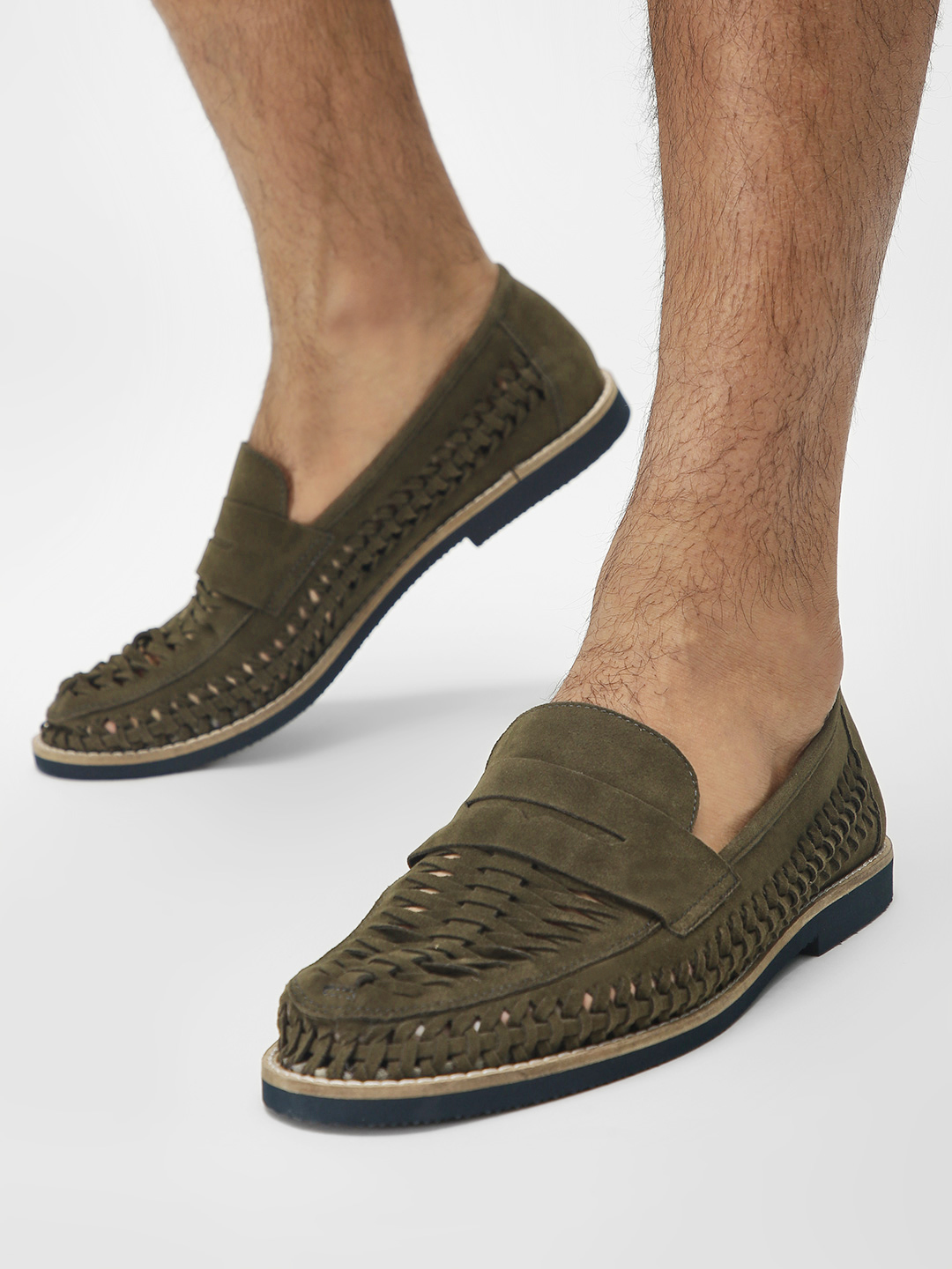Bolt Of The Good Stuff Green Suede Weave Detail Loafers 1
