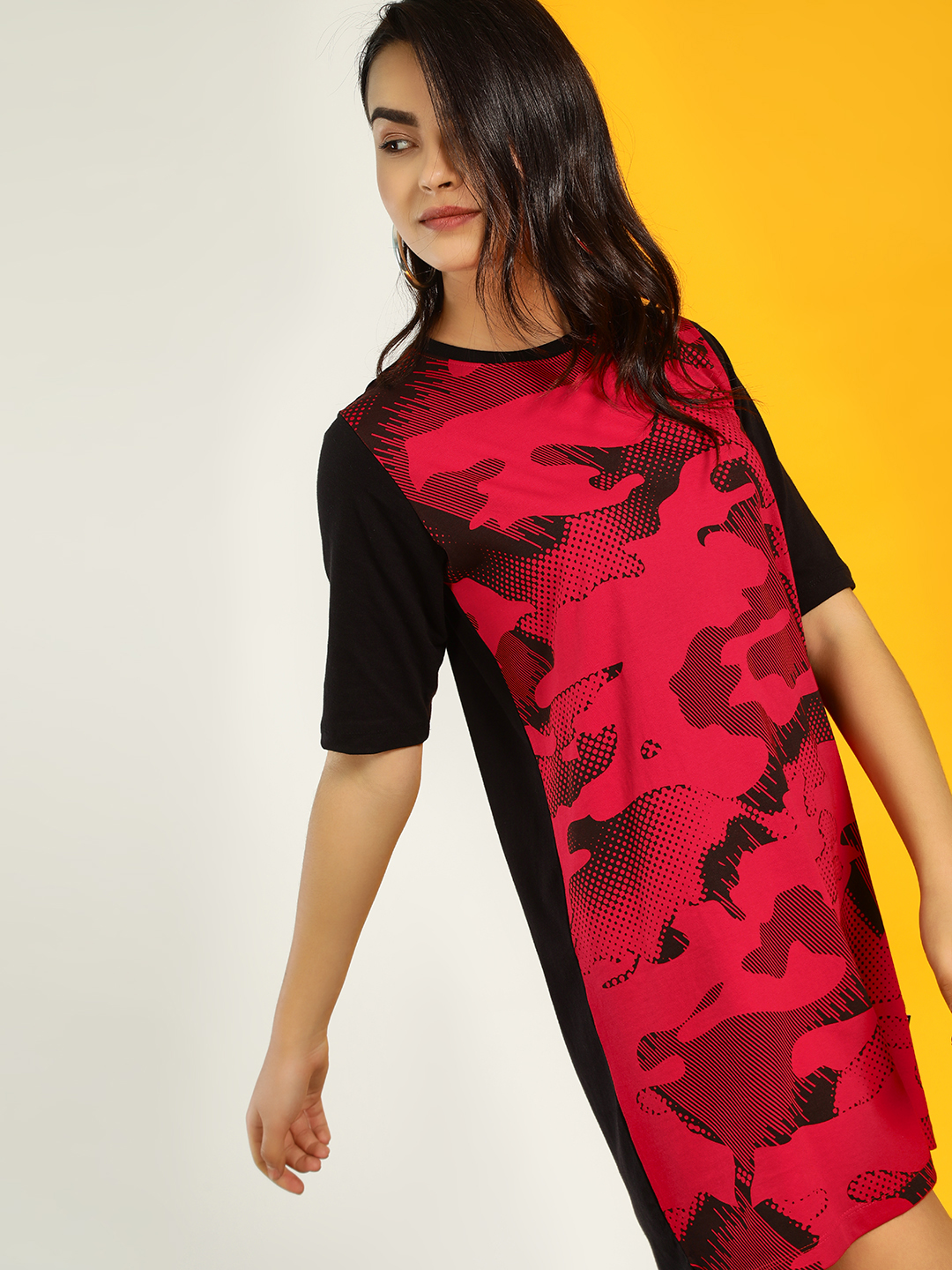 Cult Fiction Red Camo Print Shift Dress 1