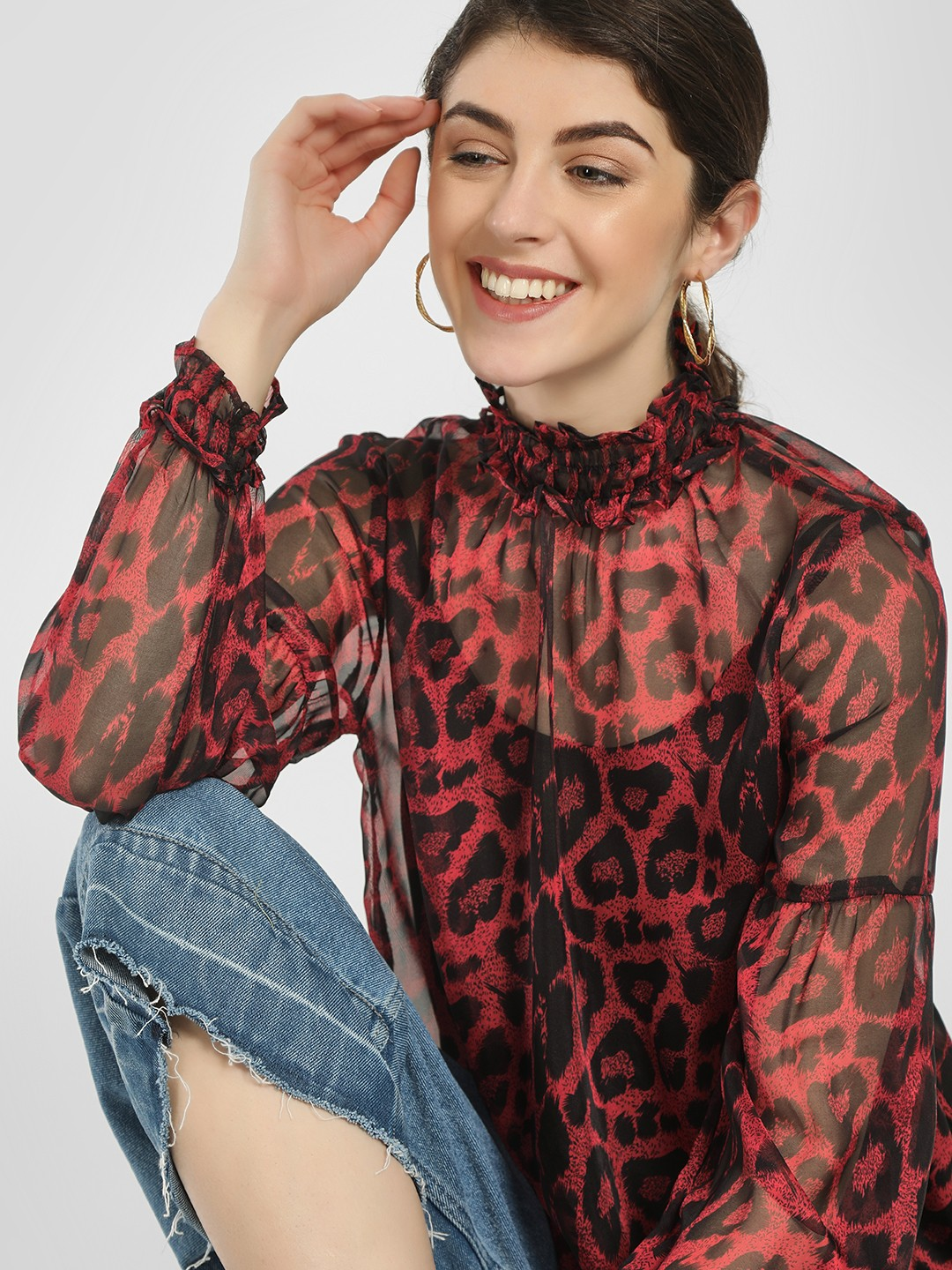 LOVEGEN Print Leopard Print Ruffled Neck Blouse 1