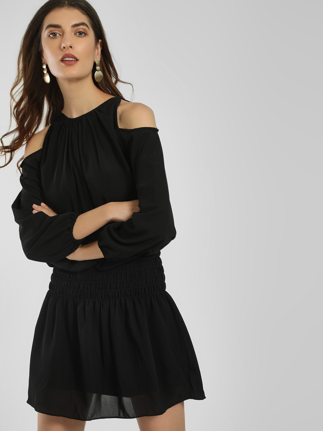 LOVEGEN Black Cold Shoulder Shift Dress 1