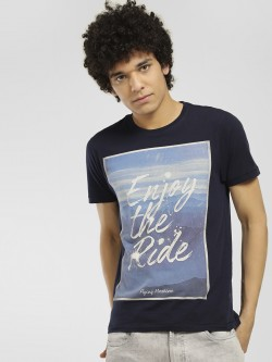 Flying Machine Slogan Placement Print T-Shirt