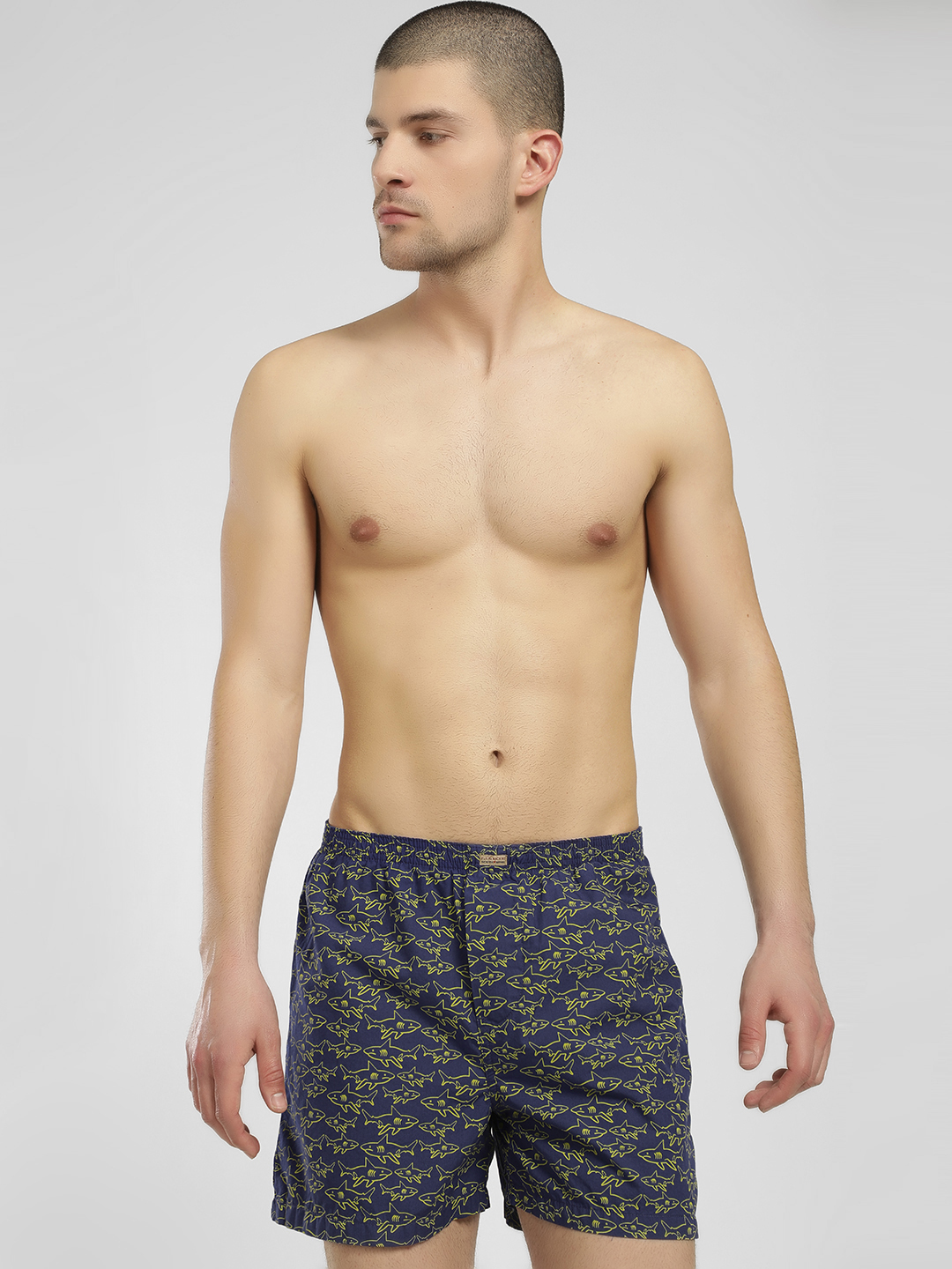 Flying Machine Navy All Over Shark Print Boxers 1