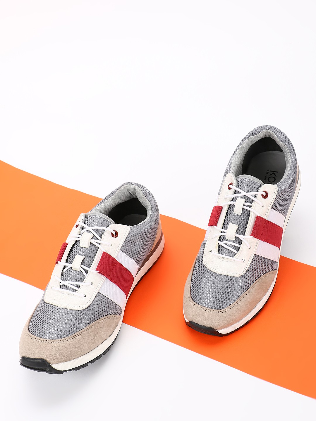 KOOVS Multi Colour Block Suede Panel Sneakers 1