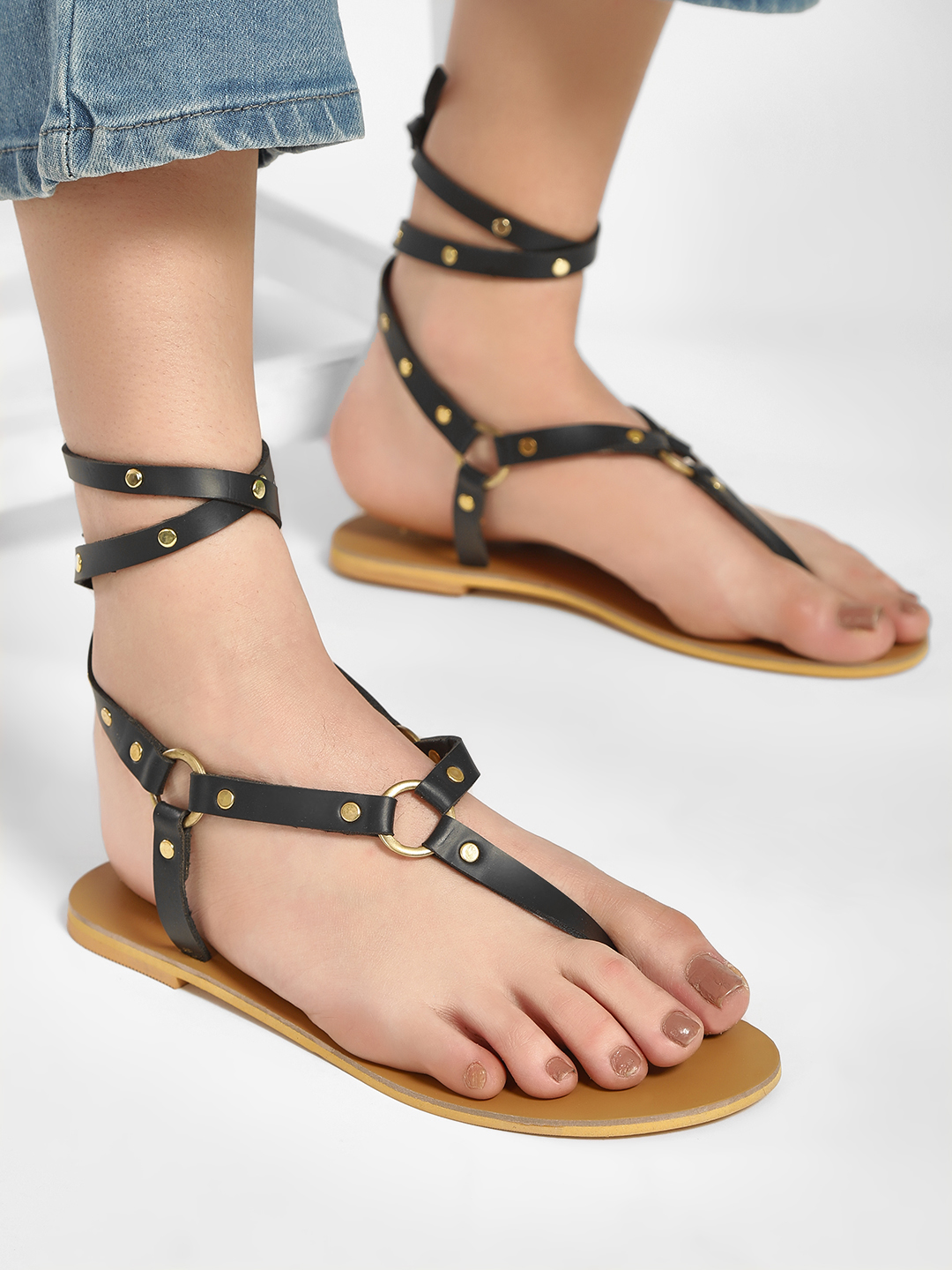 CAi Black Studded Ankle Tie Flat Sandals 1