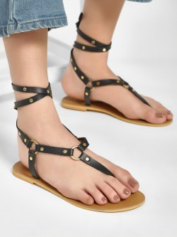 CAi Studded Ankle Tie Flat Sandals