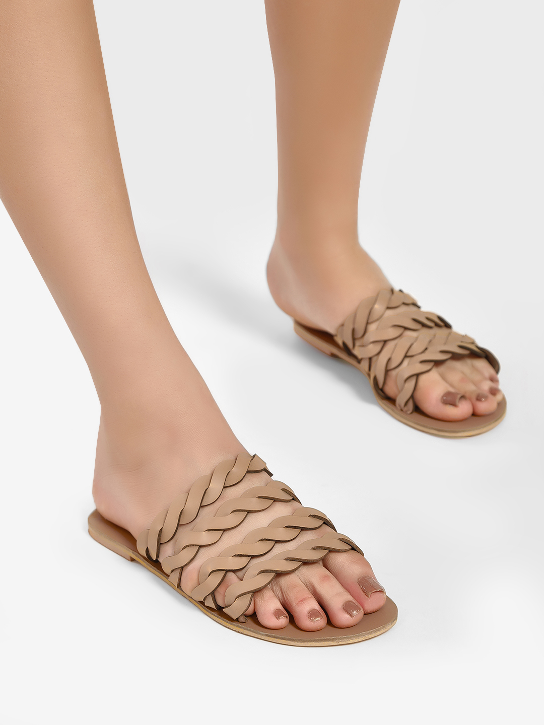 CAi Nude Braided Strap Flat Sandals 1