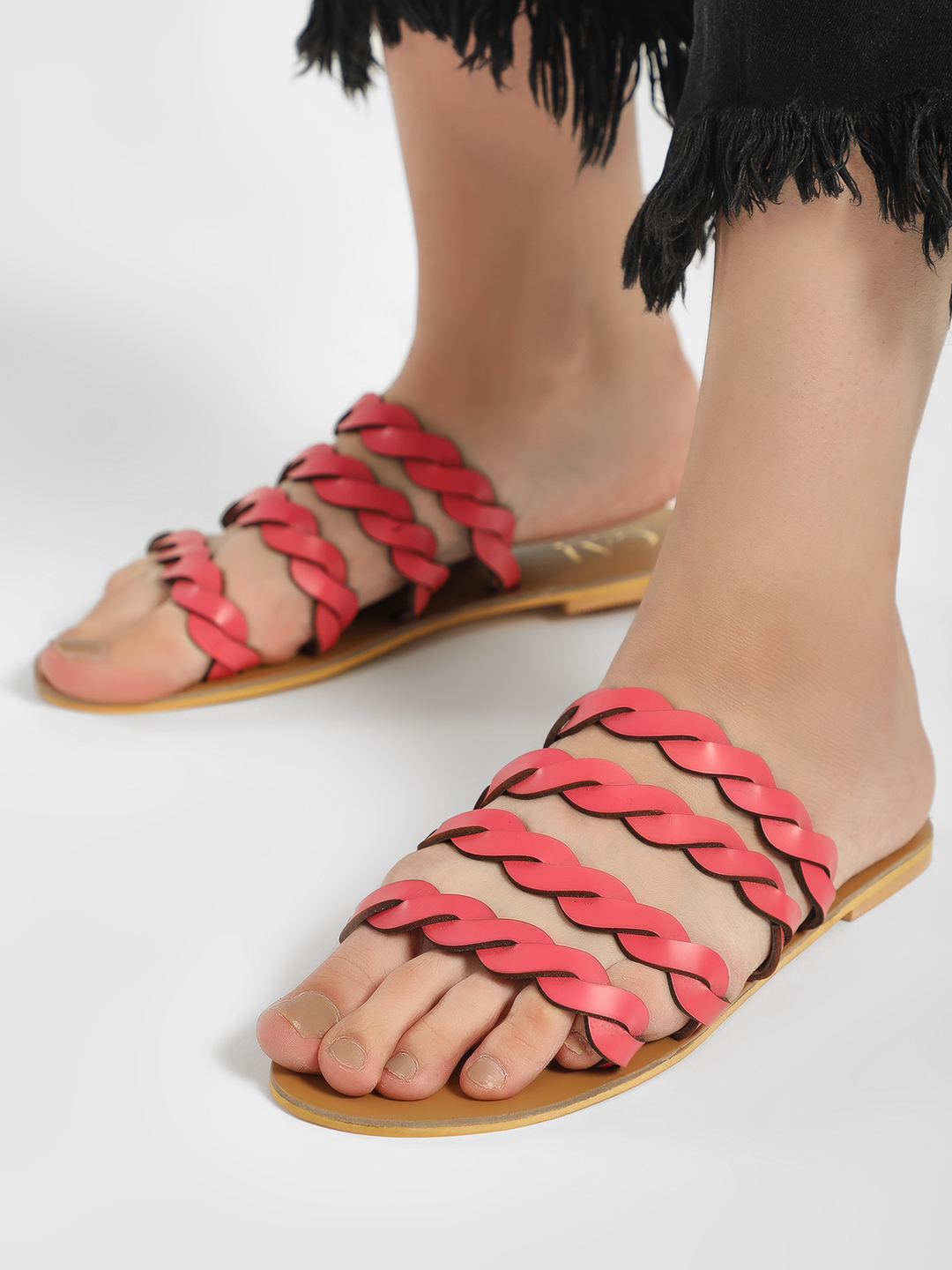 CAi Pink Braided Strap Flat Sandals 1