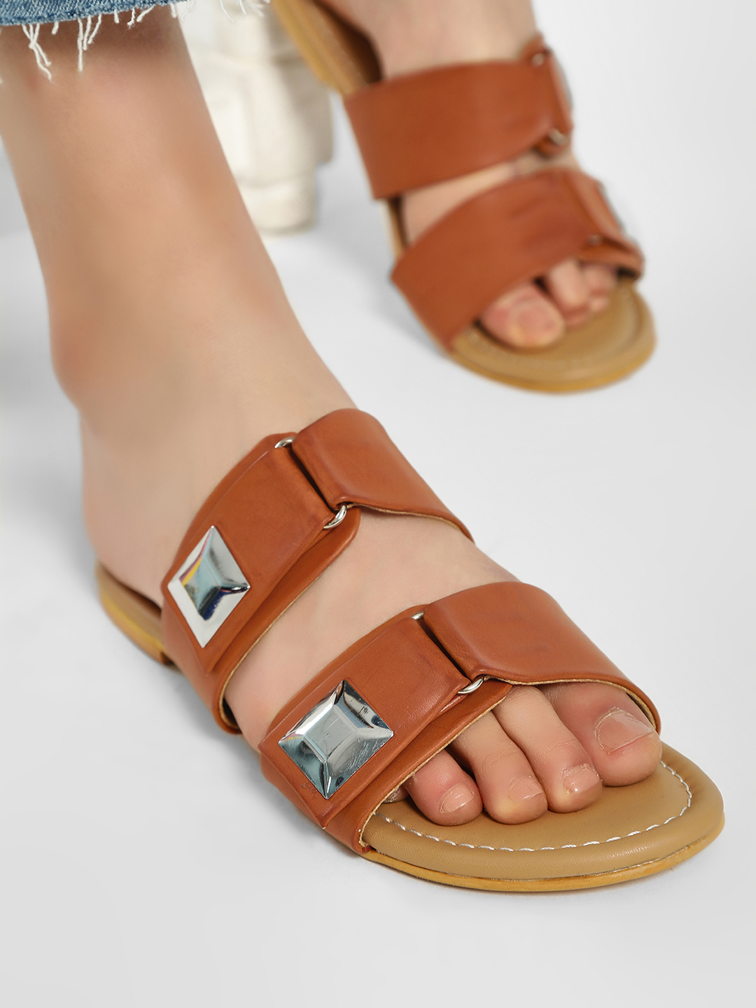CAi Brown Double Buckle Strap Flat Sandals 1