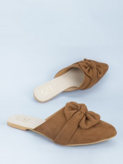 CAi Suede Ruffle Bow Flat Mules
