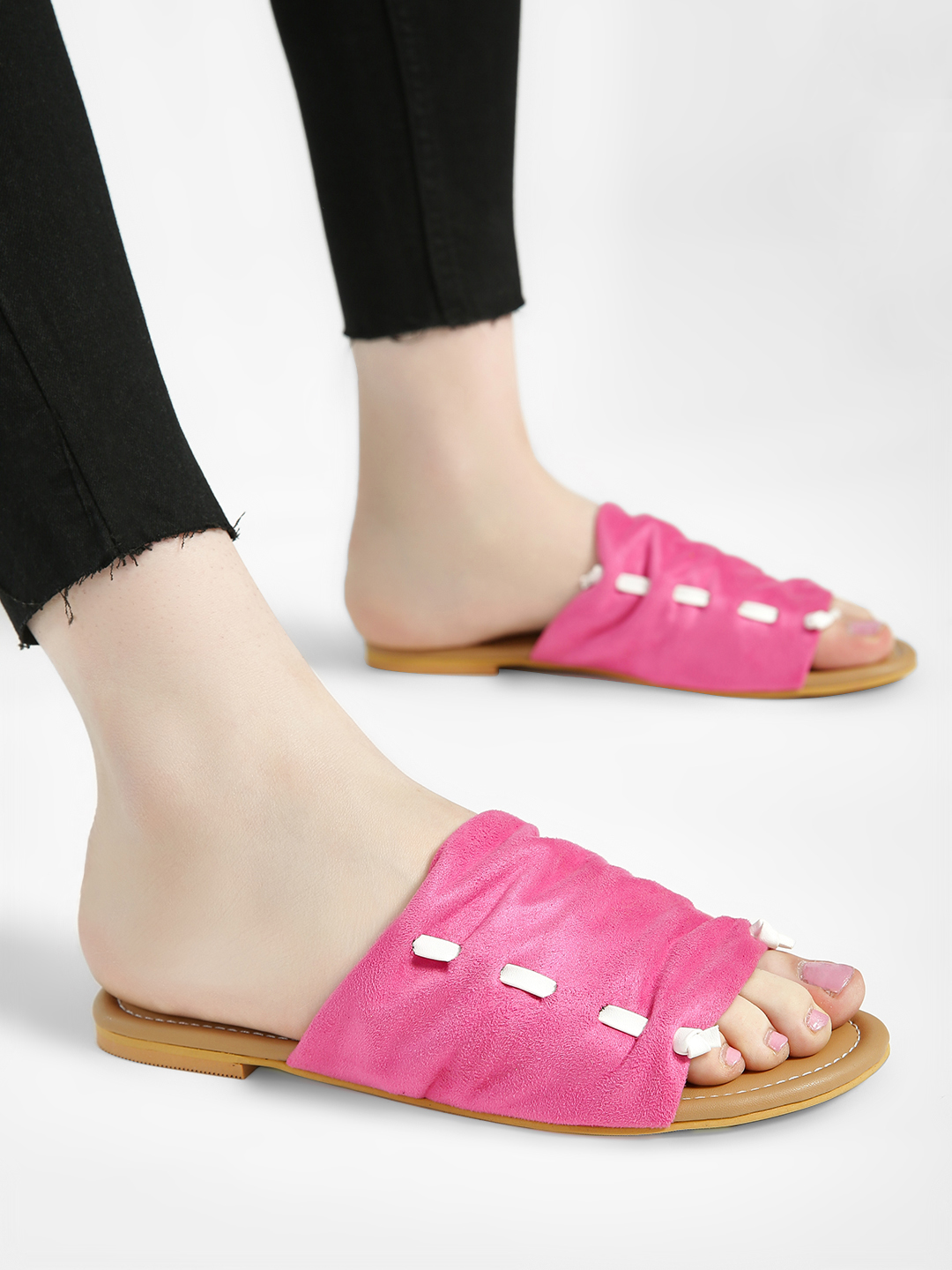 CAi Pink Suede Broad Strap Flat Sandals 1
