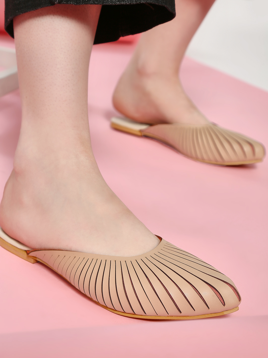 CAi Nude Two-Tone Laser Cut Mules 1