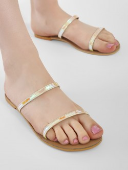 CAi Metallic Two Strap Flat Sandals